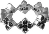 King Baby Studio Sterling Silver CZ Cross Band Ring