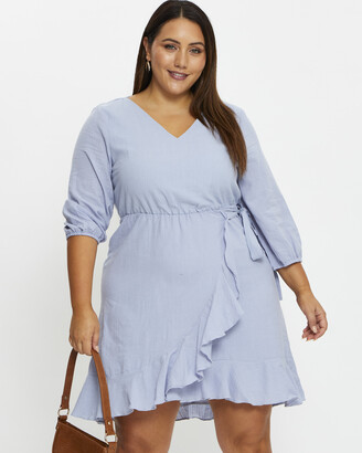 You & All - Women's Blue Shorts - Pplus Ruffle Wrap Dress - Size One Size, 16 at The Iconic