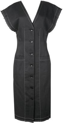 Proenza Schouler White Label Cotton Linen Short Sleeve Button Front Dress