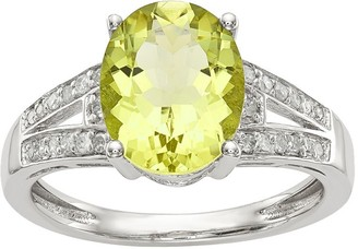 Sterling Oval Gemstone & 1/10 cttw Diamond Ring
