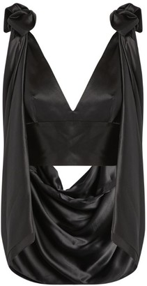 Michael Lo Sordo Silk Draped Rose Blouse
