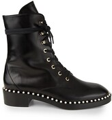 Thumbnail for your product : Stuart Weitzman Sondra Faux Pearl-Embellished Leather Combat Boots