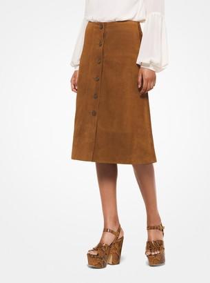 MICHAEL Michael Kors Suede Button-Front Skirt