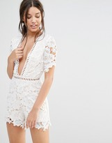 Missguided Lace Kimono Sleeve Romper