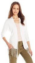 It's Our Time Juniors 3/4 Sleeve Knit Kimono W Lace Insert and Fringe