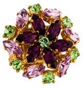 Saint Laurent Floral Crystal Cocktail Ring
