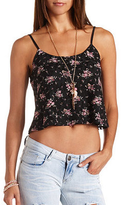 Charlotte Russe Floral Print Lace Swing Crop Top