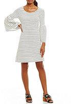 Calvin Klein Dot Stripe Textured Knit Bell Sleeve Shift Dress