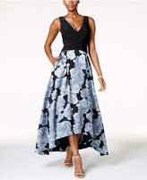 Xscape Evenings Printed Illusion-Inset High-Low Gown