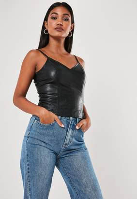 Missguided Black Faux Leather Cami Top