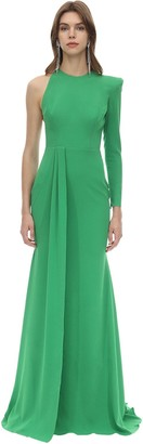 Alex Perry Long Draped Techno Crepe Dress
