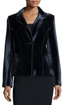 Giorgio Armani Velvet One-Button Ottoman Jacket, Navy