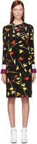 Emilio Pucci Black and Yellow Crepe Paintbrush Dress