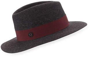 Maison Michel Andre Felt Classic Fedora Hat, Charcoal