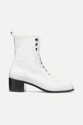 BY FAR Bota Lace-up Leather Ankle Boots - White