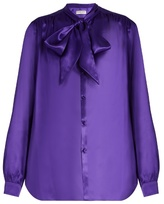 Balenciaga Neck-tie silk-satin blouse