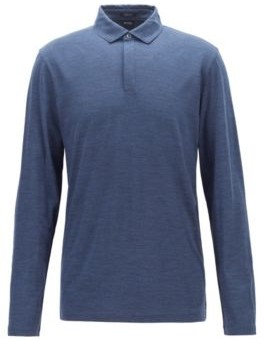 HUGO BOSS - Long Sleeved Polo Shirt In Traceable Virgin Wool - Black