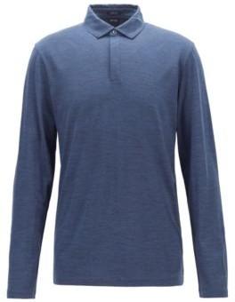 Long-sleeved polo shirt in traceable virgin wool