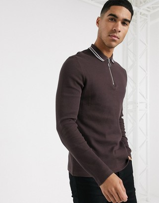 ASOS DESIGN long sleeve polo shirt with zip neck and tipping in waffle in brown