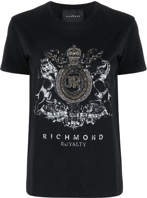 John Richmond embellished crest T-shirt