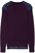 Sacai Satin-paneled Ribbed Cotton Sweater - Grape