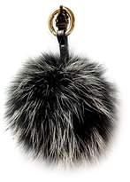 LITHER Genuine Fur Pom Pom Puff Ball Car Keyring / Bag Purse Charm