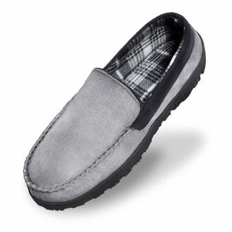 Shoeslocker Mens Moccasins Slippers Memory Foam House Shoes Grey Black Size 12