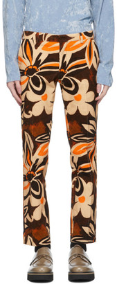 Dries Van Noten Beige Corduroy Floral Trousers