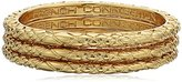 French Connection Gold 3 Textured Band Stackable Ring, Size 8