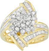 FINE JEWELRY Womens 2 CT. T.W. Diamond 10K Gold Cluster Ring