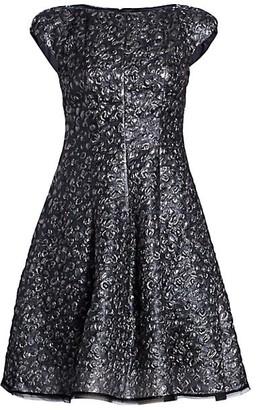 Talbot Runhof Metallic Jacquard Cap-Sleeve Cocktail Dress