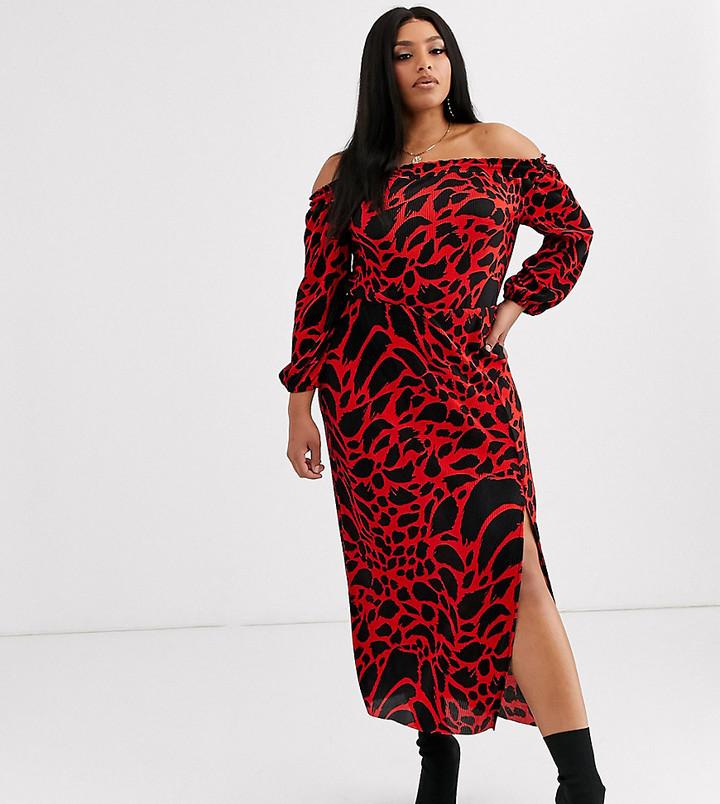 ASOS DESIGN Curve long sleeve leopard print bardot plisse midi dress