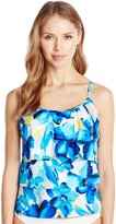 Caribbean Joe Women's Blissful Blooms Triple Tier Ruffle Tankini