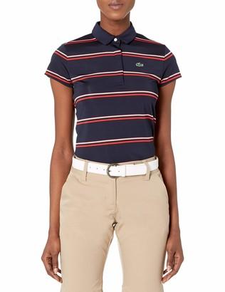 Lacoste Womens Sport Thin Striped Stretch Cotton Golf Polo Polo Shirt