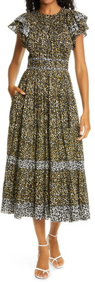 Ulla Johnson Iona Cheetah Print Midi Dress