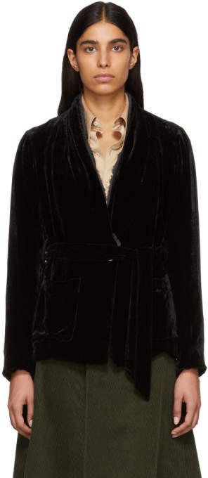 Raquel Allegra Black Velvet Belted Blazer