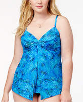 Miraclesuit Plus Size Mediterranean Printed Underwire Tummy Control Tankini Top