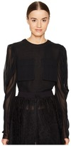 Vera Wang Long Sleeve Blouse with Patch Pocket Women's Blouse
