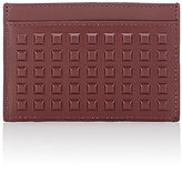 Balenciaga Men's Grid-Embossed Card Case-BURGUNDY
