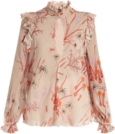Giambattista Valli Ruffled mushroom-print silk-georgette blouse