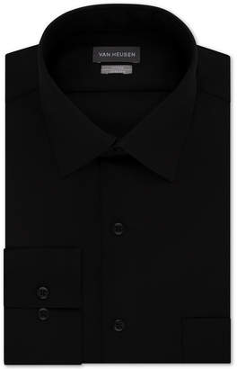 Van Heusen Men Fitted Stretch Wrinkle Free Sateen Solid Dress Shirt