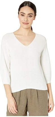Michael Stars Grace 3/4 Sleeve V-Neck Pullover Cotton Sweater (White) Women's Clothing