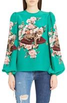 Dolce & Gabbana Women's Cat Print Silk Bell Sleeve Blouse