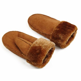 Meredeng Winter Outdoor Thick Warm Cashmere Gloves Womens Faux Leather Gloves Heated Fur Mittens Suede Leather Gloves-brown