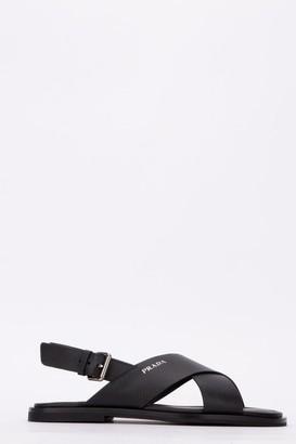 Prada Crossover Logo Sandals
