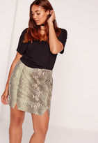 Missguided Plus Size Snake Faux Leather Mini Skirt Khaki