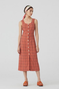 Nice Things Light Coral Checked Linen Dress - 34