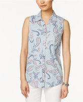 Style&Co. Style & Co Sleeveless Denim Shirt, Only at Macy's