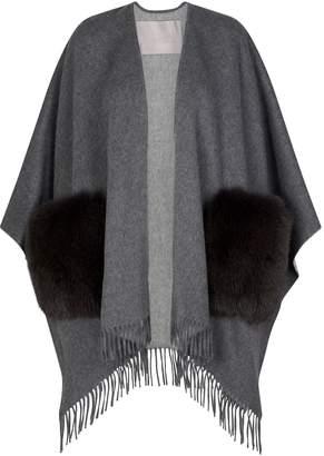 Herno Wool Fox Fur Poncho