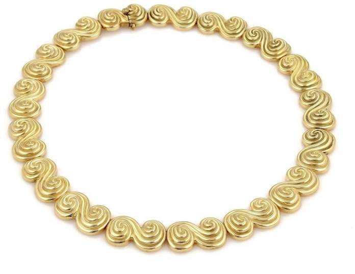 Tiffany & Co. Spiro 18K Yellow Gold Swirl Link Collar Necklace